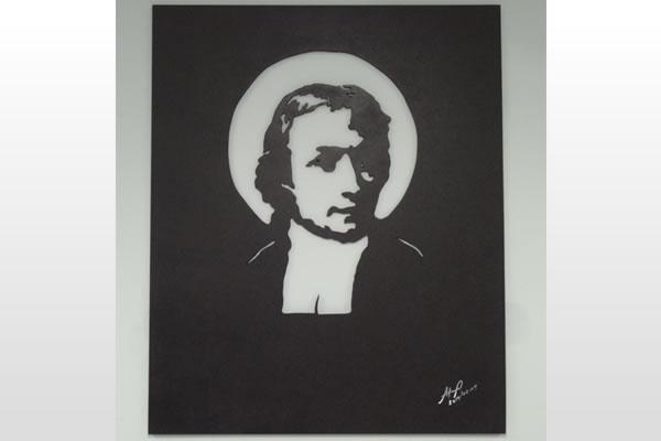 Título: São João Batista de La Salle Artista: Ademas Abian Ano: 2014 Técnica: marcenaria